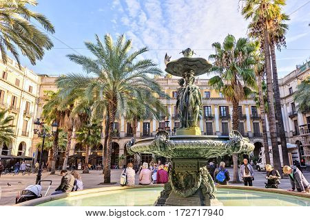 SPAIN November 10 - Classical Fountain of the Three Graces at Placa Reial in city of Barcelona in Catalonia beauty