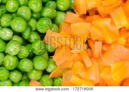 Green Peas With Chopped Carrots Flat Lay Background