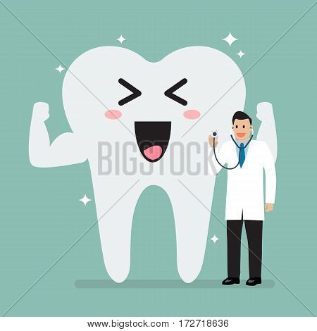 Doctor holding stethoscope for checking up healthy tooth. vector illustration