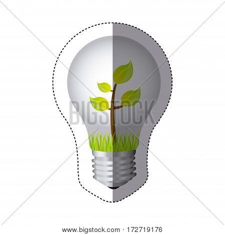 color sticker silhouette with bulb light and plant with stem and leaves vector illustration