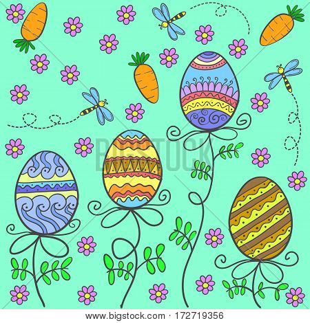 Doodle of easter egg style cartoon vector art