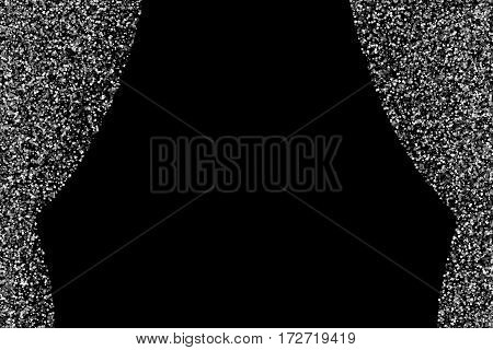 Silver curtain isolated on black background. Grey explosion of confetti. Flat design element. Vector illustrationeps 10..
