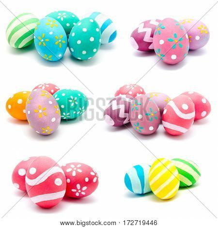 Collection of photos perfect colorful handmade easter eggs isolated on a white