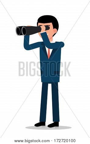 Businessman looking through binoculars, illustration on a white background. Concept flat vector business illustration.