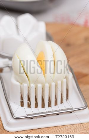 Sliced Boiled Egg On The Cutting Machine
