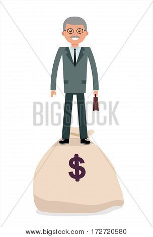 Elderly businessman standing on the bag with money. Cartoon vector flat-style illustration