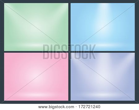 Set of clear empty studio light vector pastel backgrounds for product presentation