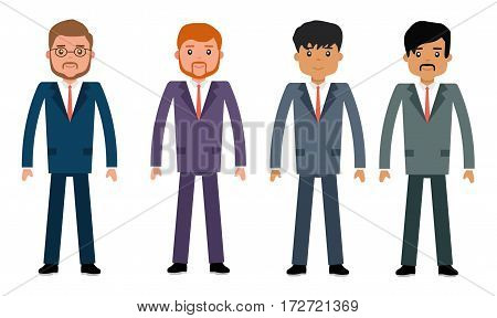 The business in different appearance, Europeans and Latin Americans. Concept flat vector business illustration.