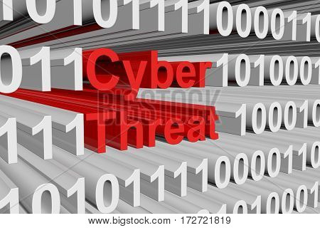 cyber threat is presented in the form of binary code 3d illustration