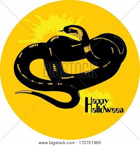 vector moon with snake on white background