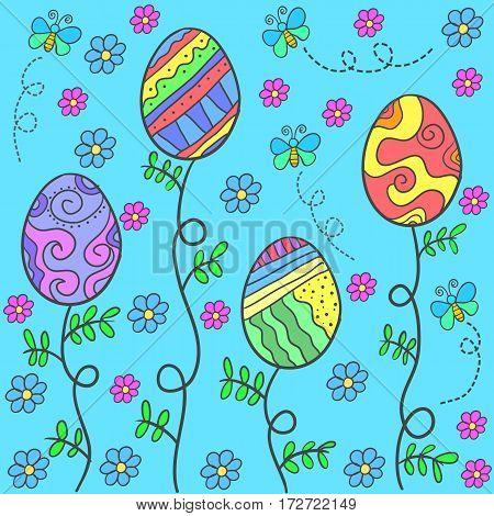 Doodle of easter egg on blue background vector art
