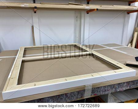 Wooden framing workshop interior