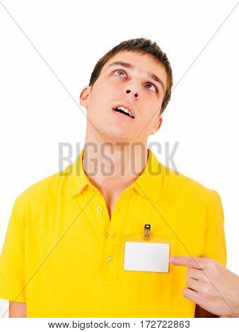 Tired Young Man with Empty Badge on t-shirt Isolated on the White Background