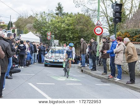 Conflans-Sainte-HonorineFrance-March 62016: The Danish cyclist Magnus Cort Nielsen of Orica-GreenEDGE Team riding during the prologue stage of Paris-Nice 2016.