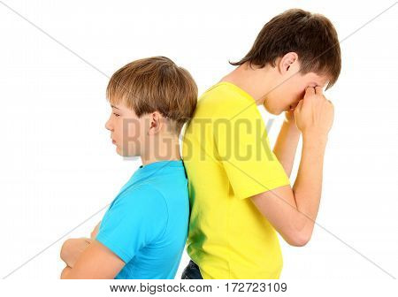 Sad Teenager and Kid stand Back to the Back on the White Background