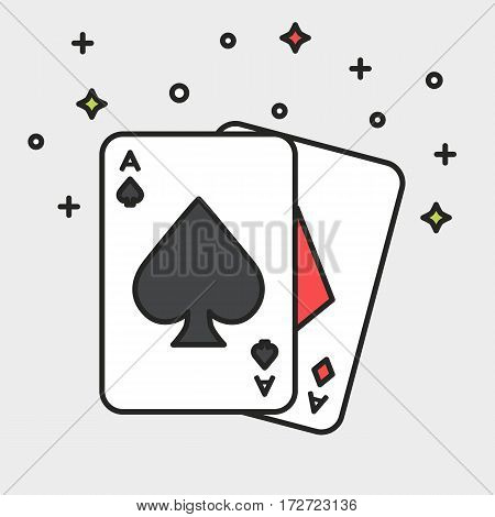 Magician cards aces with sparkles on grey background