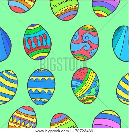 Doodle of easter egg various collection stock