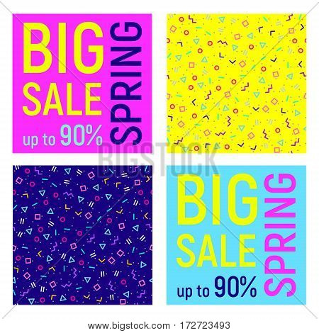 Set of four Big sale banner geometric background with different geometric shapes - triangles circles dots lines. Memphis style. Bright and colorful 90s style. Vector illustration.