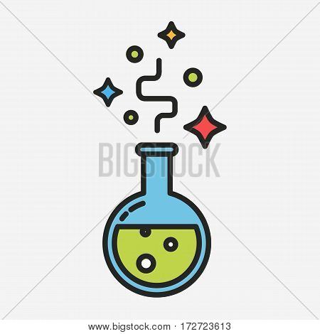 Green magic potion alchemy concept colorful vector