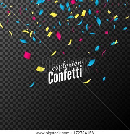 Confetti isolated vector design. Festive decoration for celebration party. Colorful flying confetti.