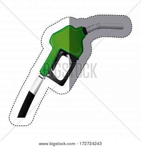 color sticker silhouette with gasoline pump nozzle vector illustration