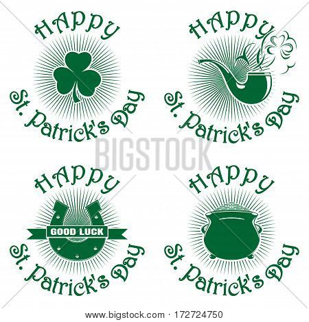 Symbol celebrating St. Patrick's Day. Greeting inscription. Happy St. Patrick's Day. Vector green icons isolated on white background. Trefoil, clover, horseshoe, smoking pipe, pot of gold. Set2