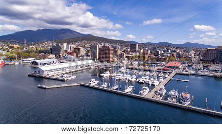 View of the Hobart waterfront, docks, CBD and Mount Wellington