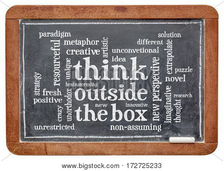 Think outside the box word cloud - word abstract on a slate blackboard with white chalk
