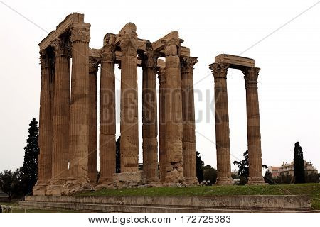 Ancient ruins of Zeus Temple, Athens, Greece