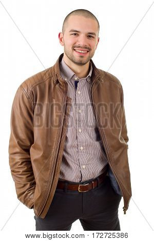 happy casual man isolated on white background