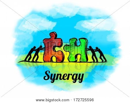 Illustration.business Concept Of Teamwork With Jigsaw Puzzle. Sunergy