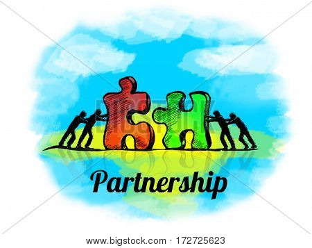 Illustration.business Concept Of Teamwork With Jigsaw Puzzle. Partnership