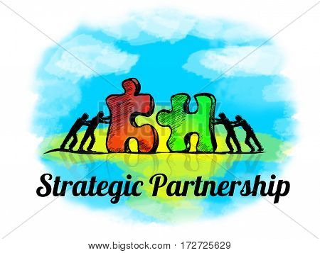 Illustration.business Concept Of Teamwork With Jigsaw Puzzle. Strategic Partnership