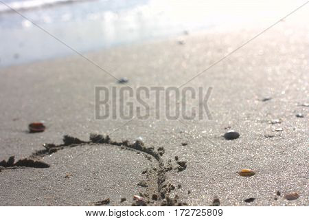 Heart on beach. Background, Soft Selective focus