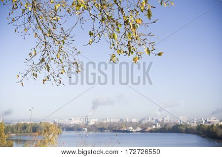 Green leaves in the foreground and a city landscape with pollutions in the blurred background