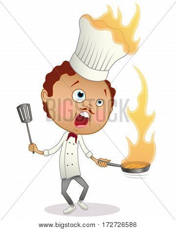 Cartoon chef with a pan and a turner cooking a flambe with his hat in flames. Isolated on white.