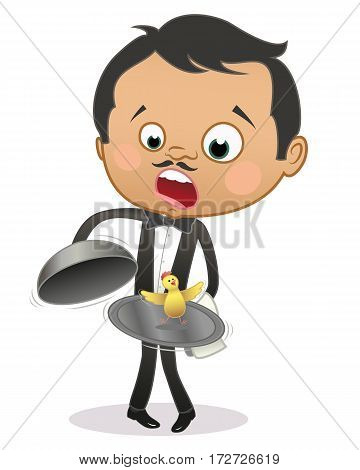 Cartoon astonished maitre finding a live chicken in the tray under the dome. Isolated on white.