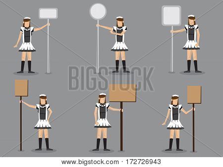 Set of six vector illustrations of girl in black and white french maid costume holding signboard with copy space on post isolated on grey background.