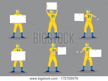 Set of six cartoon character of American football player holding blank sign with copy space. Vector illustration isolated on grey background.