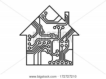 Simple smart household illustration, black and white vector, printed circuit board pattern, Internet of things illustration, usable as infographic element of connectivity, interconnection, system solution