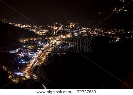 View of the City of Vielha illuminated at night