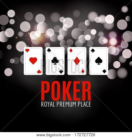 Shining Casino Poker Banner Poster. Show spotlight Poker design with playing cards. Casino poster.
