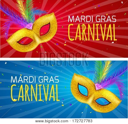 Mardi Gras brochure banner design. Golden fat tuesday symbols and letters. Greeting card with mask carnival. Holiday mardi gras party flyer.