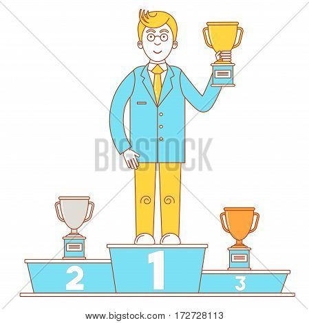 Winner's Podium With Businessman Who Holds Gold Cup
