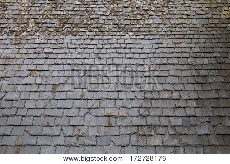 Texture of a roof with slate stone