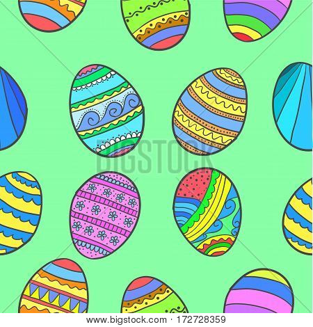 Doodle of easter egg colorful collection vector art