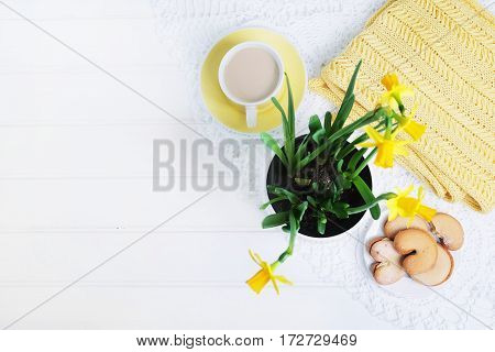 Indoor table setting. Narcissus flower in a pot with cookies and tea cup.