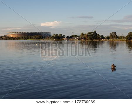 PERTH, AUSTRALIA - February 13, 2017: Perth Stadium, located on the Swan River. The Stadium is currently under construction and will hold 60,000 people.