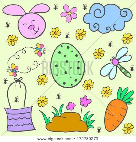 Doodle of easter egg design cartoon vector flat