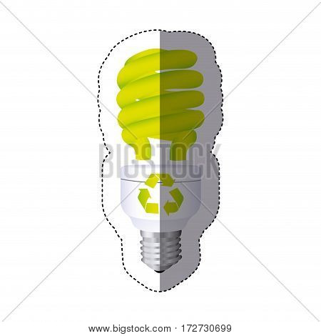 color sticker silhouette with spiral fluorescent lamp with recycling symbol vector illustration